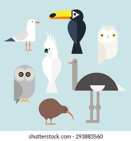 Different birds icons set include seagull, cockatoo, toucan, snowy owl, gray owl, kiwi and ostrich. Vector illustration