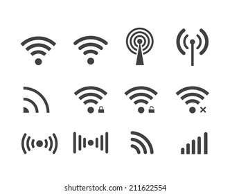 different black vector wireless and wifi icons