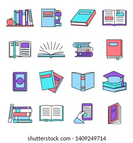 Different book icons set in linear style. Education and knowledge, school and college. Stack of books. Vector illustration