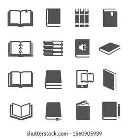 Different books black glyph icons vector set. Literature silhouette symbols pack. E reader, e book, notebook. Educational items. Study, learn. School equipment isolated illustrations collection