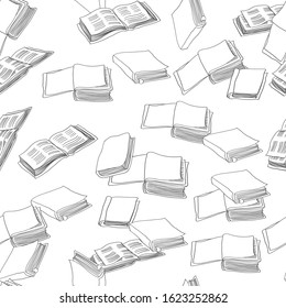 Different books seamless pattern. Education theme vector background