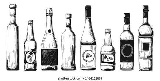 Different bottles with alcohol. Vector illustration in sketch style.