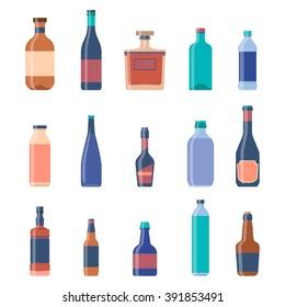 Different bottles collections. Beer vintage background. Liquor bottles, alcoholic drinks, vodka bottle, beer bottle. Vector Eps10