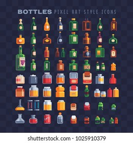 Different bottles pixel art 80s style icons set. Plastic and glass bottles with liquid and  alcoholic beverages jare isolated vector illustration. 8-bit. Design for stickers, logo shop, mobile app.