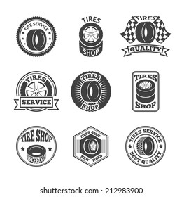 Different brands tires tread pattern shops emblems and replacing service labels set black abstract vector illustration