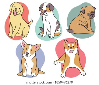 Different breeds of dogs. hand drawn style vector design illustrations.