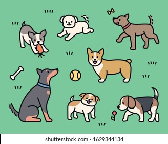 Different breeds of dogs are playing in the grass yard. outline style character. flat design style minimal vector illustration.