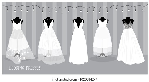 Different bride elegant and glamour dresses, isolated in vector. Wedding Fashion cartoon illustration