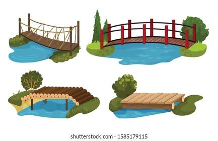 Different Bridges Collection, Wooden, Rope Footbridges Vector Illustration