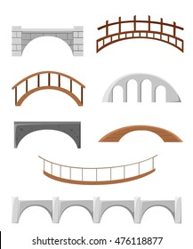 Different bridges isolated on white silhouette vector illustration. Bridges objects for games  background stone tree