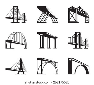 Different bridges in perspective - vector illustration