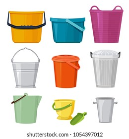 Different buckets. Vector set isolate. Illustration of bucket and container, pail with handle