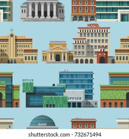 Different buildings hotels for tourist and travalers places vacation time apartment urban town facade vector seamless pattern background .