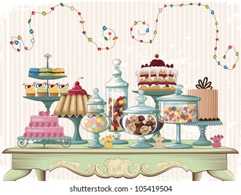 Different cakes and glass jars with candies set on the old-fashioned table. All objects are grouped and separated to layers.