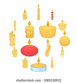 Different candle icons set. Cartoon illustration of 16 different candle vector icons for web
