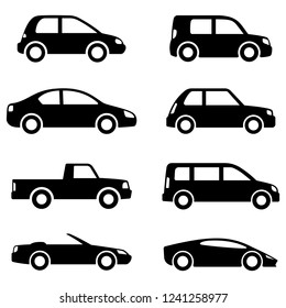 Different cars icons collection. Vector illustration