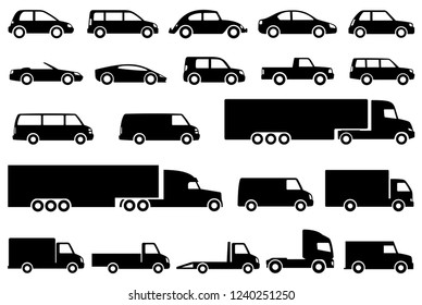 Different cars icons. Vector illustration