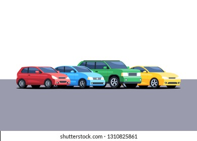 Different cars are parked in a row. Vector illustration in cartoon style isolated on white background