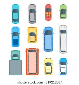 Different Cars Top View Position Set. Flat Design Style. Vector illustration