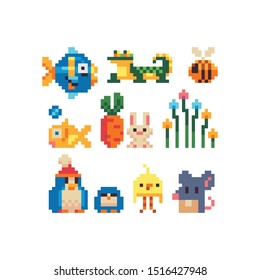 Different cartoon animal characters pixel art icons set, fish, tropical, lizard, bee, baby, carrot, hare, penguin and mouse. Design for logo, sticker, mobile app and web, isolated vector illustration.