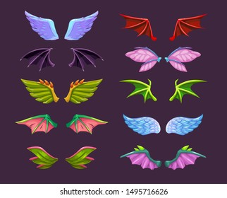 Different cartoon animal wings set. Angel, devil, dragon, bat, butterfly wing icons. Isolated vector elements.