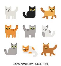 Different cartoon cats set. Simple modern geometric flat style vector illustration.