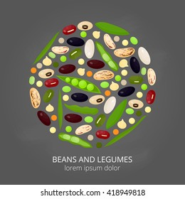 Different cartoon legumes in circle on chalkboard background. Kidney, lima, navy, black, cranberry, asparagus, adzuki, pinto, soy, mung, green beans, peas, chickpeas, lentils.