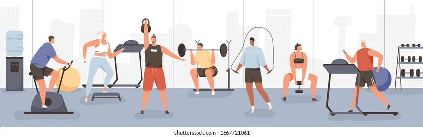 Different cartoon people exercising at modern gym vector flat illustration. Athletic man and woman on training apparatus have various physical exercises enjoy sport activity