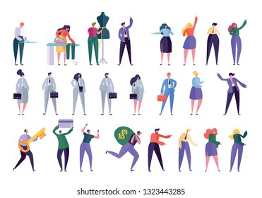 Different Character Set Design Style. People in Various Lifestyle: Businessman Woman, Manager, Fashion Designer, Dressmaker, Robber. People in Work Clothes Flat Cartoon Vector Illustration