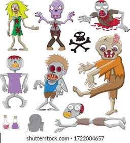 Different character of zombies cartoon illustration