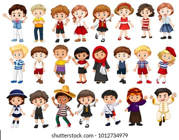 Different characters of boys and girls illustration