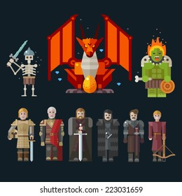 Different characters for the game: monster, skeleton, dragon, warriors. Sprites. Vector flat illustrations.