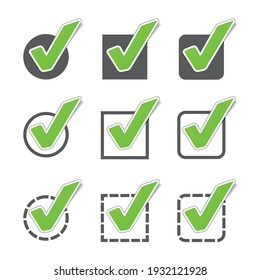 Different Checkbox Icon Set - Green Vector Illustration - Isolated On White Background