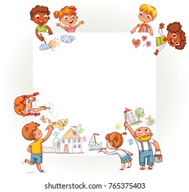 Different children draw on large poster. Happy children holding blank poster. Template for advertising brochure. Ready for your message. Space for text. Funny cartoon character. Vector illustration