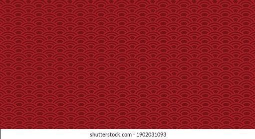 Different Chinese Fish scale background. Fish scales seamless patterns in red colors. Endless texture can be used for wallpaper, pattern fills, surface textures. vector illustration