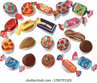 A lot of different chocolates with different fillings.Vector illustration on a white background