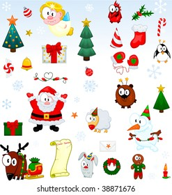 Different christmas symbols collection
