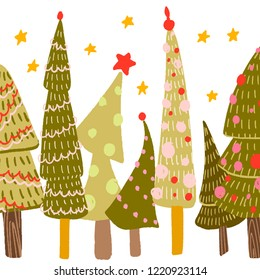 different Christmas trees with ornaments, balls. yellow stars in the background. postcard, background