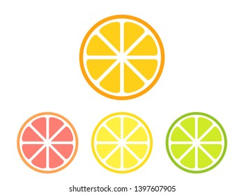 Different citrus slices set: lemon, orange, lime and grapefruit. Vector illustration