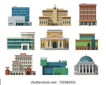 Different city public buildings houses set flat design office architecture modern street apartment vector illustration.
