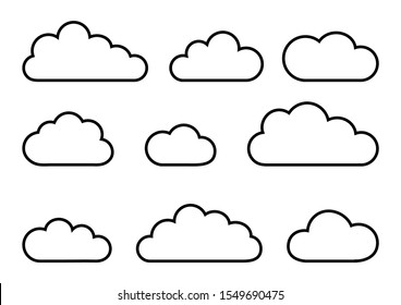 Different clouds line art isolated on white background. Vector illustration