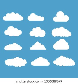 different clouds set on white background.Vector illustration.