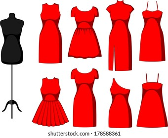 Different Cocktail and Evening Dresses and mannequin. Vector illustration