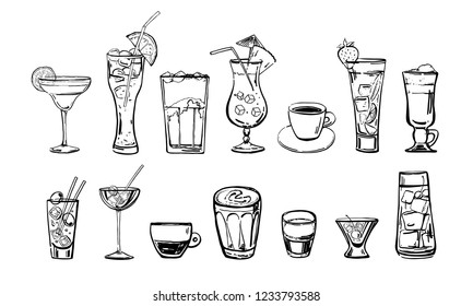 Different coffee and cocktail drinks set. Hand drawn outline cartoon vector sketch. Black on white background