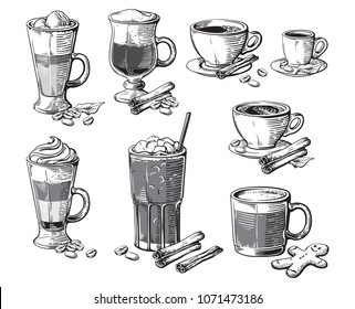 Different coffee drinks isolated on white background. Espresso macchiato chocolate ristretto mocha irish cocoa frappe glace americano latte cappuccino.