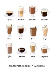 Different coffee drinks isolated on white background. Espresso, macchiato, chocolate, ristretto, mocha, irish, cocoa, frappe, glace, americano, latte, cappuccino.
