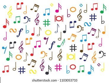 Different Collor Musical Symbol Music Note Stock Vector Royalty