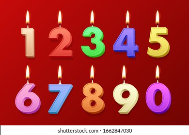 Different color birthday candles with burning flames isolated on red background. Vector design elements
