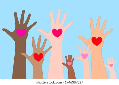 different color children and adult hands is raise up with the heart in their hands. love, equality, encourage, giving, sharing, harmonious, volunteer concept.