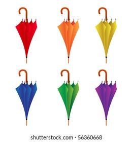 different color closed umbrellas vector illustration